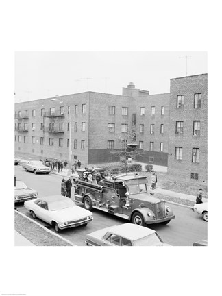Framed USA, New York City, fire engine Print