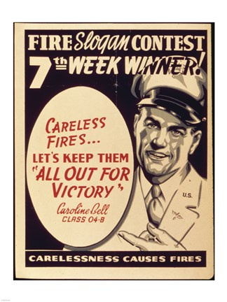 Framed Careless Fires.. Let's Keep Them All Out For Victory Print
