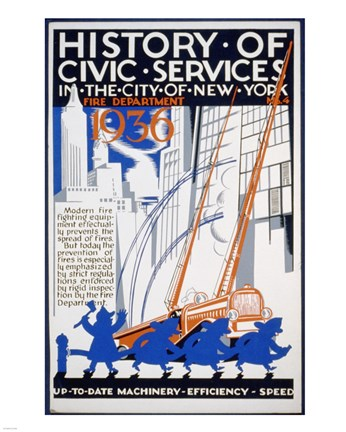 Framed History of Civic Services in the NYC Fire Department 1936 Print