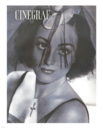 Framed Joan Crawford CINEGRAF Magazine Print