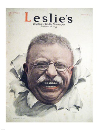 Framed Leslies Illustrated Weekly Newspaper Nov. 1916 Teddy Roosevelt Print