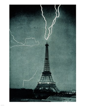 Framed Lightning Striking the Eiffel Tower Print