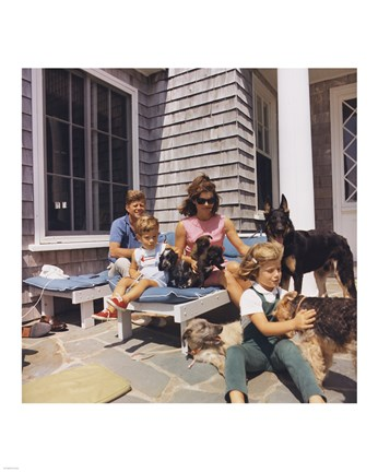 Framed Photograph of Kennedy Family with Dogs During a Weekend at Hyannisport Print