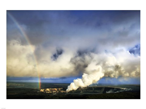 Framed Rainbow and Eruption of Halema`uma`u Vent at Kilauea Print