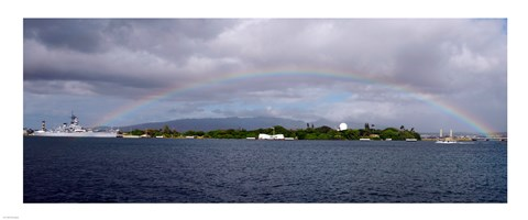 Framed US Navy, A rainbow appears over the USS Arizona Memorial Print