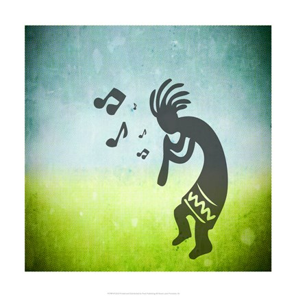 Framed Kokopelli Music I Print