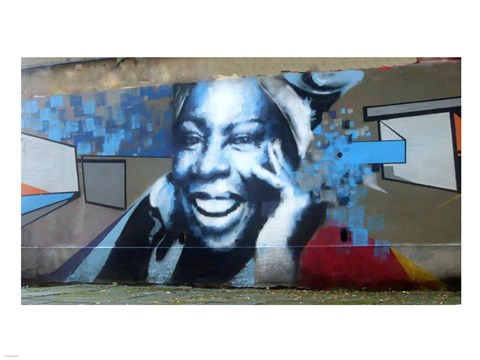 Framed Graffiti of blue smiling women with abstract background somewhere in Gdynia Print