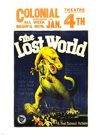 Framed Lost World Film Poster, 1925 Print