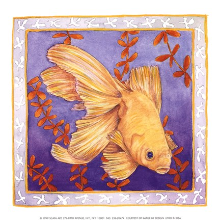 Framed Goldfish On Purple Print