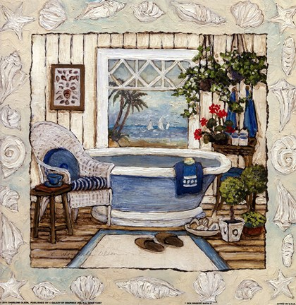 Framed SEA BREEZE BATH I Print