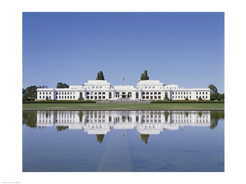 Framed Building on the waterfront, Parliament House, Canberra, Australia Print