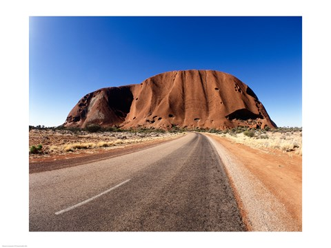 Framed Road passing through a landscape, Ayers Rock, Uluru-Kata Tjuta National Park, Australia Print