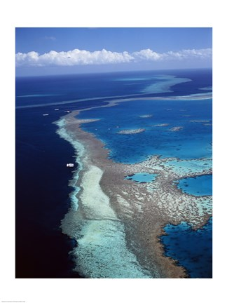 Framed Aerial view of a coastline, Hardy Reef, Great Barrier Reef, Whitsunday Island, Australia Print