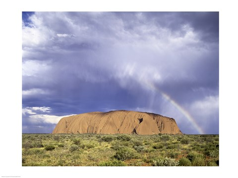 Framed Rock formation on a landscape, Ayers Rock, Uluru-Kata Tjuta National Park Print