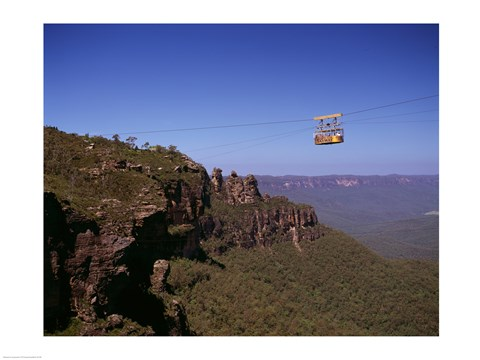 Framed Cable car approaching a cliff, Blue Mountains, Katoomba, New South Wales, Australia Print