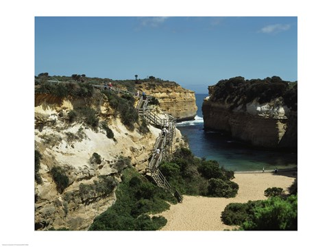 Framed High angle view of rock formations on the coast, Loch Ard Gorge, Port Cambell National Park, Victoria, Australia Print