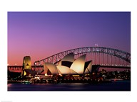Opera house lit up at night, Sydney Opera House, Sydney Harbor Bridge, Sydney, Australia Art