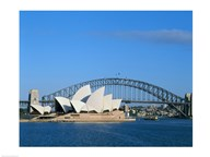 Opera house on the waterfront, Sydney Opera House, Sydney Harbor Bridge, Sydney, Australia Art