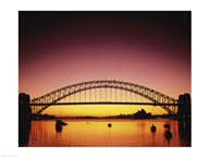 Silhouette of a bridge across a harbor, Sydney Harbor Bridge, Sydney, New South Wales, Australia Art
