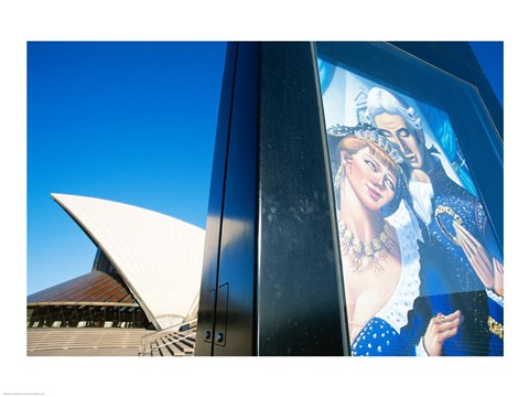Framed Poster in front of an opera house, Sydney Opera House, Sydney, Australia Print