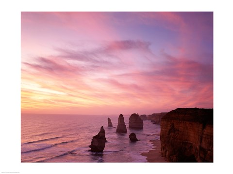 Framed High angle view of rock formations, Twelve Apostles, Port Campbell National Park, Australia Print