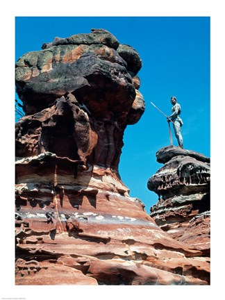 Framed Person standing on a rock formation, Elcho Island, Arnhem land, Northern Territory, Australia Print