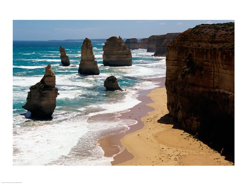 Framed High angle view of rocks on the beach, Twelve Apostles, Port Campbell National Park, Victoria, Australia Print