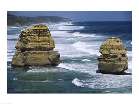 Framed Sea stacks at the Port Campbell National Park, Victoria, Australia Print