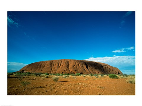 Framed Rock formation on a landscape, Ayers Rock, Uluru-Kata Tjuta National Park, Northern Territory, Australia Print