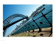 Low angle view of a bridge at a harbor, Sydney Harbor Bridge, Sydney, New South Wales, Australia Art