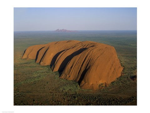 Framed Aerial view of a rock formation. Ayers Rock, Uluru-Kata Tjuta National Park, Australia Print