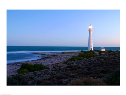 Framed Lighthouse on the coast, Point Lowly Lighthouse, Whyalla, Australia Print