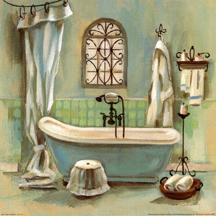 Glass Tile Bath I Fine Art Print By Silvia Vassileva At