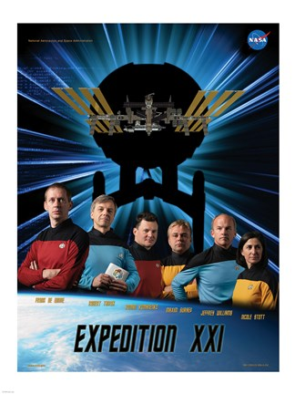 Framed Expedition 21 Star Trek Crew Poster Print