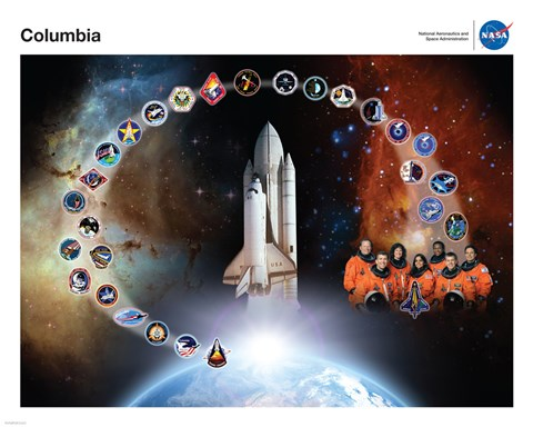 Framed Space Shuttle Columbia Tribute Poster Print