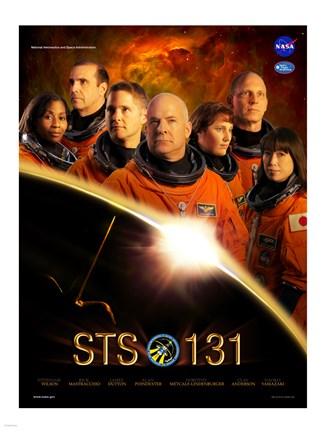 Framed STS 131 Crew Poster Print