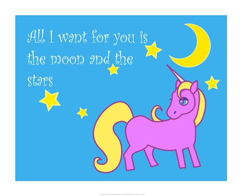 Framed Moon and Stars Unicorn Print