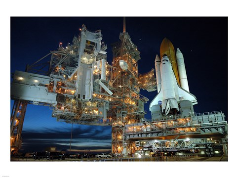 Framed Main Launch Pad at Night Print