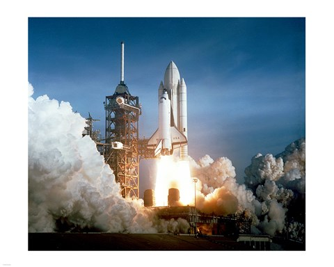 Framed Space Shuttle Columbia launching Print