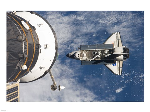 Framed STS-129 Atlantis approaches the ISS and Soyuz Print