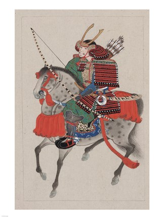 Framed Samurai Riding a Horse Print