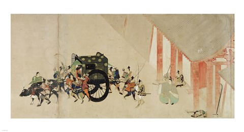 Framed Emperor Nijo escaping from the Imperial Palace to the Rokuhara mansi Print