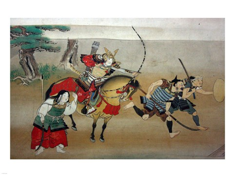 Framed Illustrated Story of Night Attack on Yoshitsune's Residence At Horikawa, 16th Century Print