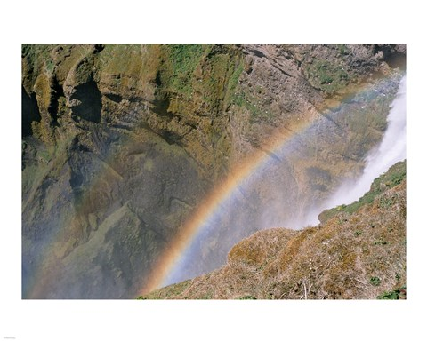 Framed Rainbow by Waterfall Print