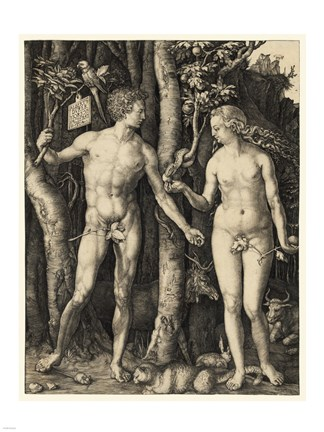 Framed Adam and Eve in the garden Print