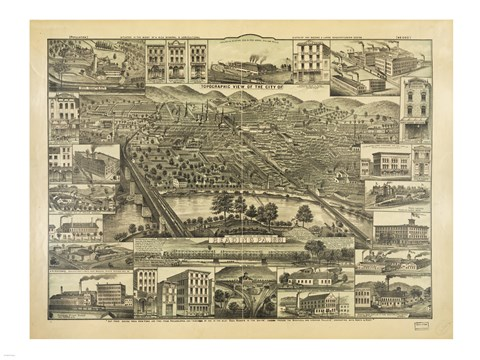 Framed Topographic View of the City of Reading PA. 1881 Print