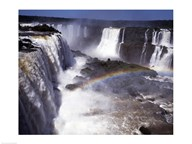 Rainbow over a waterfall, Devil's Throat, Iguacu Falls, Iguacu River, Parana, Brazil