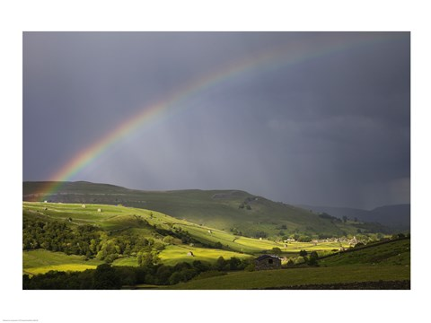Framed England, Yorkshire, Yorkshire Dales, Rainbow over Swaledale Print
