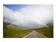 Scotland, Highland Region, Empty Road and Rainbow
