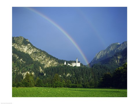 Framed Rainbow over a castle, Neuschwanstein Castle, Bavaria, Germany Print